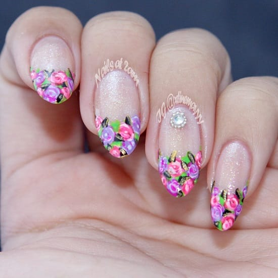 Fun florals nail art designs for spring adel professional blog these stylish and fresh floral tips are perfect for spring this colourful sparkling design from nailsat2am is one of our favourite examples prinsesfo Gallery