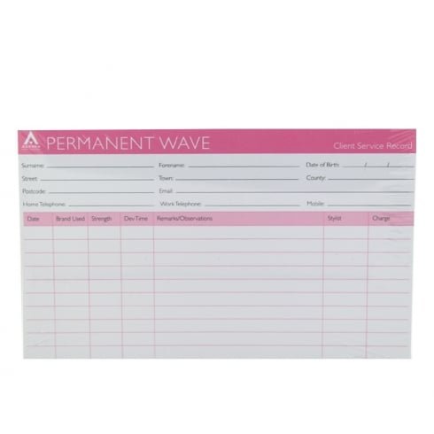 Agenda Punched Salon Client Record Cards (100)